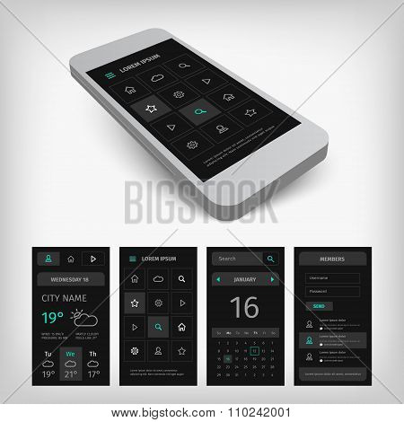 Set of black smartphone mobile user aplication interface.