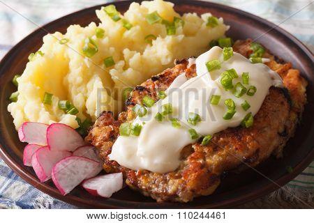 Chicken Fried Steak With Mashed Potatoes Closeup. Horizontal
