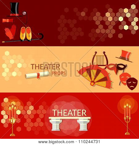 Theatre Flat Banners Tragedy Scenario Actors Performance Theater Tickets