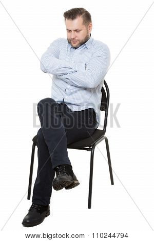 man sitting on chair. Isolated white background. Body language. gesture. Training managers. sales ag