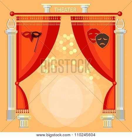 Theater Stage With Red Curtain Columns And Masks Vector Illustration