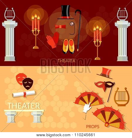 Theater Entertainment And Performance Elements Ancient Columns Theater Masks Play Tragicomedy Banner