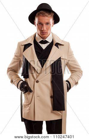 Male Model Playing As Detective.
