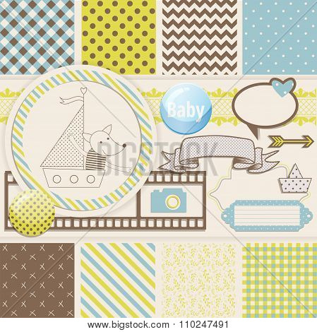 Vintage Design Elements for Scrapbook with seamless pattern