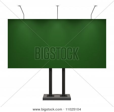 Billboard, Blank Green, Isolated on White with Clipping Path