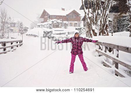 Attractive Beautiful Woman Having Fun In Winter