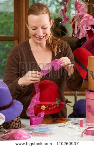 Hat Designer Working In Studio