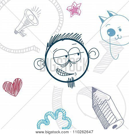 Vector Art Colorful Drawing Of Doubtful Person, Education And Social Network Design Elements Isolate