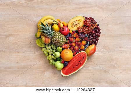 Heart symbol. Fruits diet concept. Healthy eating concept