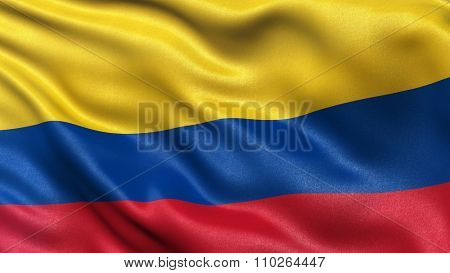 Highly detailed flag of Colombia waving in the wind.