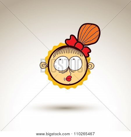 Vector Artistic Colorful Drawing Of Happy Dreamy Girl With Beautiful Hairstyle, Social Network Desig