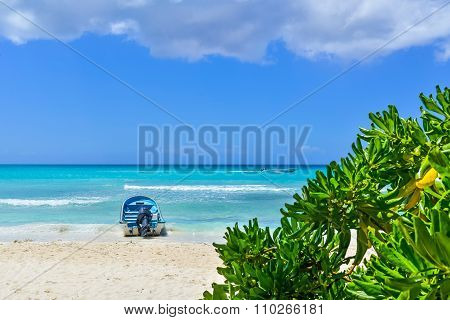 Boat On Tropical Beach At Exotic Island