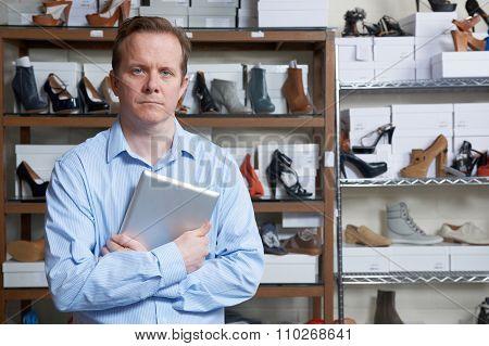 Businessman Running Online Shoe Store