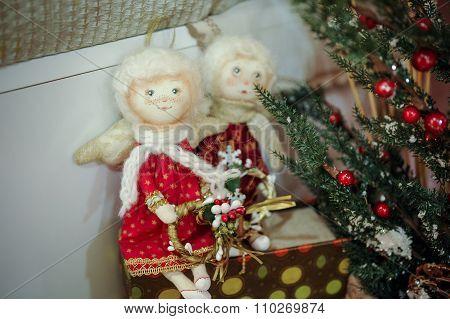Two Christmas Angel Dools Decor
