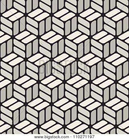 Vector Seamless Black  White Rounded Corner Rectangles Cubic Pavement Pattern