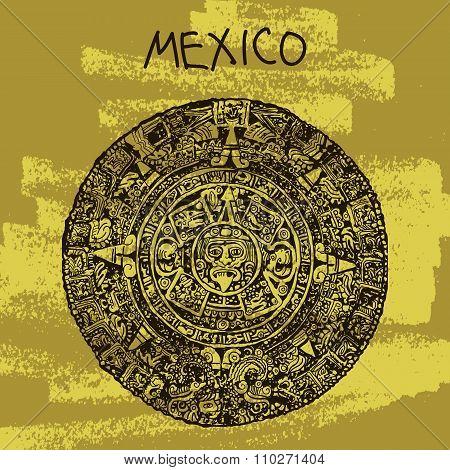 Ethnic Vector Illustration. World Famous Landmark Series: Mexico, Maya Calendar, Maya. Welcome To Me