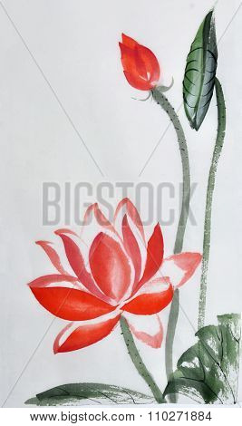 Red lotus watercolor painting