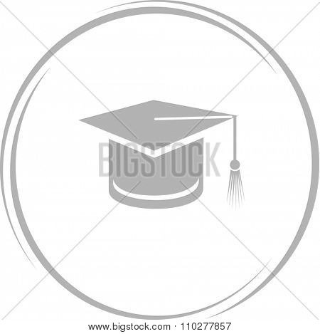 graduation cap. Internet button. Raster icon.