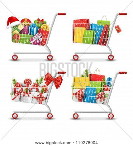 Set of Christmas Sale Colorful Shopping Carts with Gift Boxes an