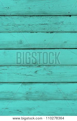 Natural Wooden Turquoise Boards, Wall Or Fence With Knots. Mint Painted Wooden Horizontal Planks