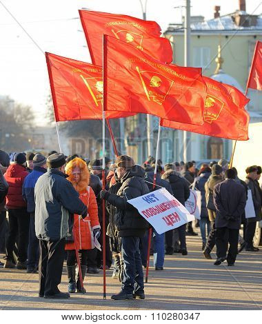 Orel, Russia - November 29, 2015: Russian Truck Drivers Protest. Strikers With Red Communist Flags.
