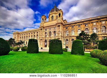 Beautiful View Of Famous Naturhistorisches Museum With Park And Sculpture In Vienna