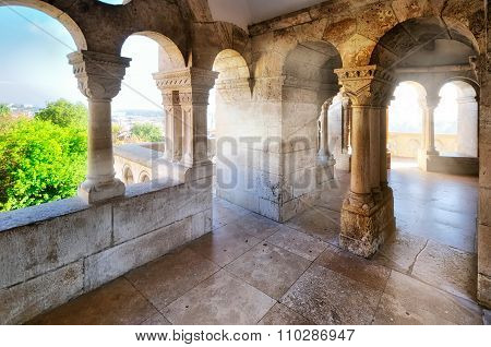 The arches and columns at Fisherman's Bastion in Budapest. Hungary poster
