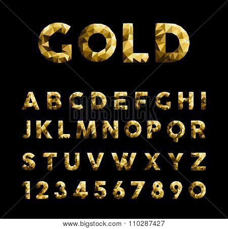 Gold Low Poly Font Typeface Elegant Numbers Abc