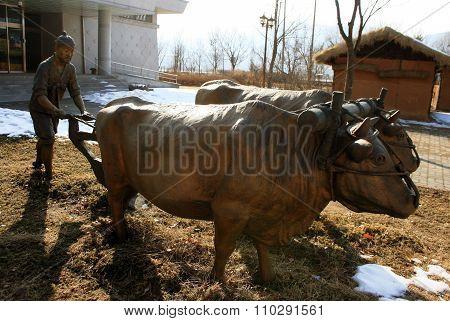 Korean farmer. Monument. South Korea.