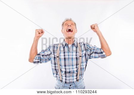 Confident Happy Aged Cheerful Man In Suspenders
