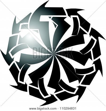 Abstract Circular, Edgy Shape With Concentric Spokes. Vector Illustration.