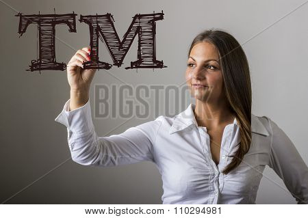 Tm Trade Mark - Beautiful Girl Writing On Transparent Surface