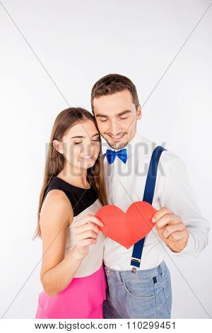 Young Happy Sincere Couple With Paper-heart