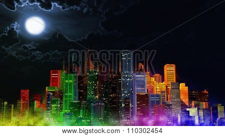 Modern City Lit By Colorful Light Effects At Night