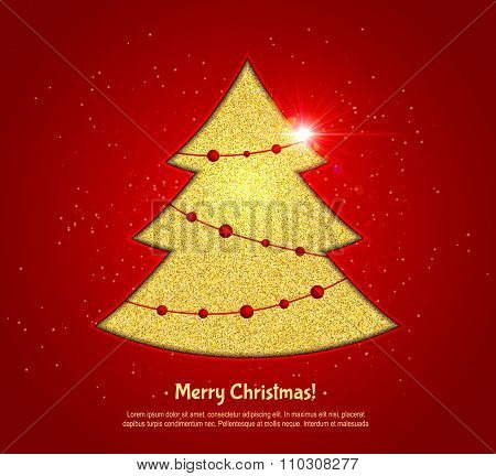 Golden Christmas tree on red background, design greeting card