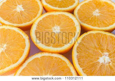 Half Oranges , Sliced Orange Fruits Closeup