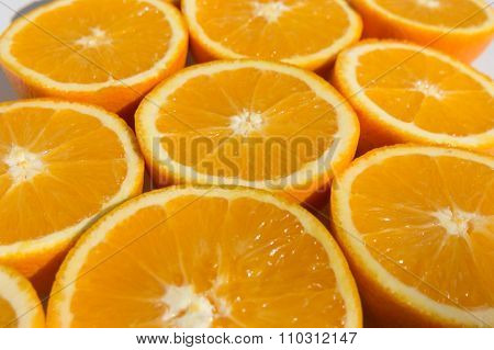 Halved Oranges , Sliced Orange Fruits Closeup