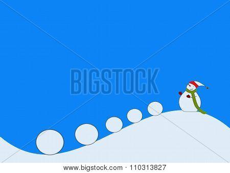 Snowman Pushing Snowballs Down A Hill