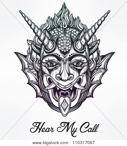 Hand drawn portrait of a horned deamon.