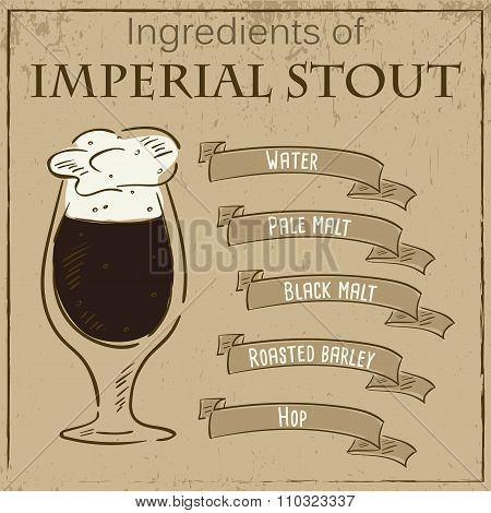 Vector vintage illustration of card with recipe of imperial stout. Ingredients are written on ribbons. poster
