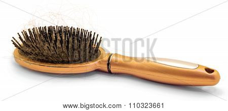 Orange Hairbrush With Hair Loss Isolated On White