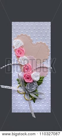 Wedding Card Handmade With Hearts And Gold Rings Grey Isolated Made By Myself
