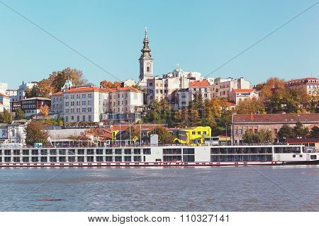 View at the capital city Belgrade from the river Sava, vintage toned image poster