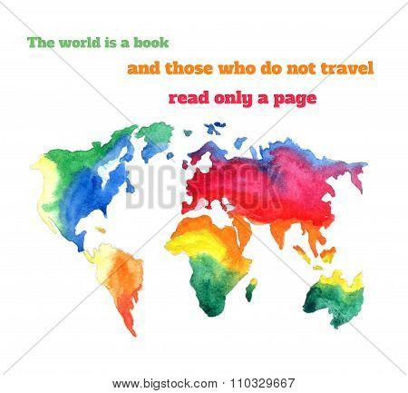 Varicolored Watercolour World Map