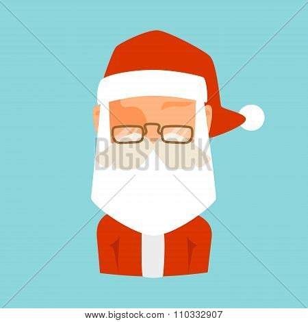 Santa Claus flat icon avatar vector illustration