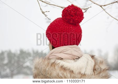 Young Woman With Self Crocheted Red Woollen Hat, Outdoor