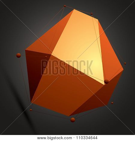 Spatial Vector Colorful Digital Object, 3D Technology Figure With Geometric Elements And Black Wiref