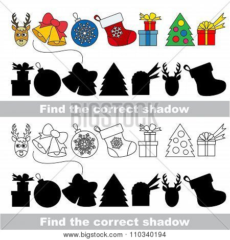 New year and Xmas set with shadows to find the correct one. Compare and connect objects. poster