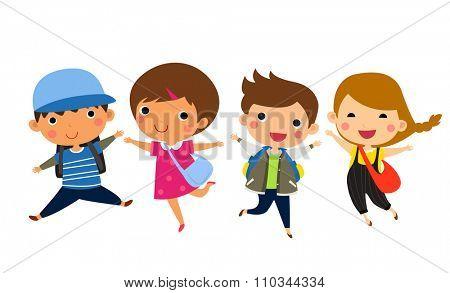 Students Jumping - Vector