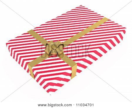 Gift Box, Striped, with Ribbons, Isolated on White